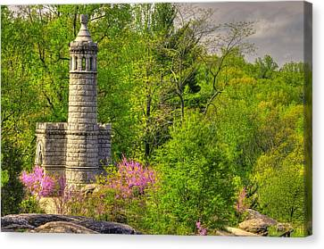 New York At Gettysburg - Monument To 12th / 44th Ny Infantry Regiments-1a Little Round Top Spring Canvas Print by Michael Mazaika