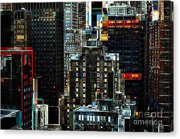 New York At Night - Skyscrapers And Office Windows Canvas Print by Miriam Danar