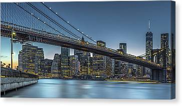 New York - Blue Hour Over Manhattan Canvas Print by Michael Jurek