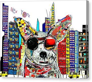 New York Chihuahua Canvas Print by Bri B