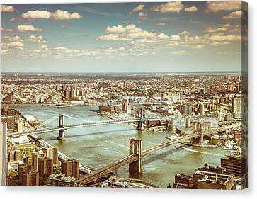 New York City - Brooklyn Bridge And Manhattan Bridge From Above Canvas Print by Vivienne Gucwa