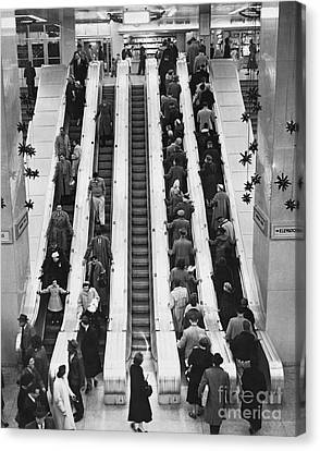 New York City Bus Terminal, 1953 Canvas Print by Bedrich Grunzweig
