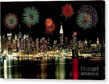 New York City Fourth Of July Canvas Print by Anthony Sacco