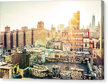 New York City - Graffiti Rooftops Of Chinatown At Sunset Canvas Print by Vivienne Gucwa