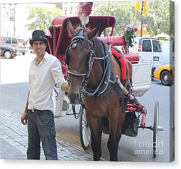 New York City Horse And Carriage Canvas Print by John Telfer