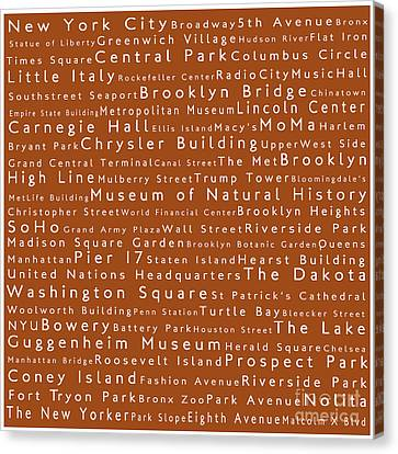 New York City In Words Toffee Canvas Print by Sabine Jacobs