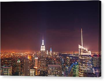 New York City Lights At Night Canvas Print by Vivienne Gucwa