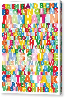 New York City Names Canvas Print by Gary Grayson