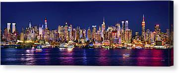 New York City Nyc Midtown Manhattan At Night Canvas Print by Jon Holiday