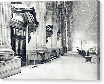 New York City - Snowy Winter Night Canvas Print by Vivienne Gucwa