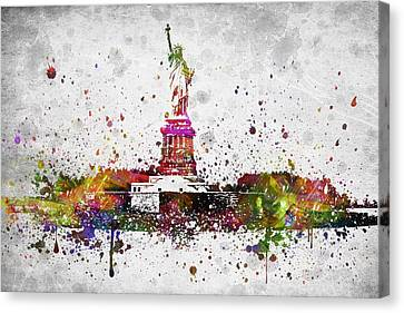 New York City Statue Of Liberty Canvas Print by Aged Pixel