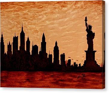 New York City Sunset Silhouette Canvas Print by Georgeta  Blanaru