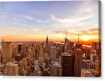 New York City - Sunset Skyline Canvas Print by Vivienne Gucwa