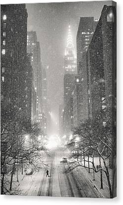 New York City - Winter Night Overlooking The Chrysler Building Canvas Print by Vivienne Gucwa