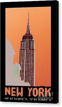 New York Coordinates Canvas Print by Celestial Images