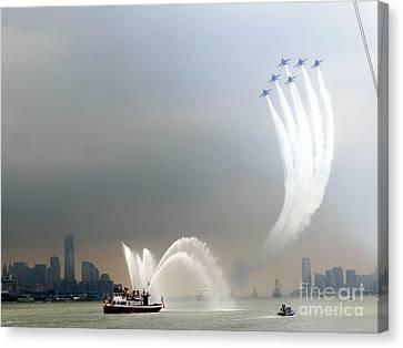 New York Harbor Fleet Week Canvas Print by Ed Weidman