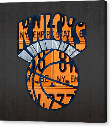 New York Knicks Basketball Team Retro Logo Vintage Recycled New York License Plate Art Canvas Print by Design Turnpike