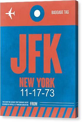 New York Luggage Tag Poster 1 Canvas Print by Naxart Studio