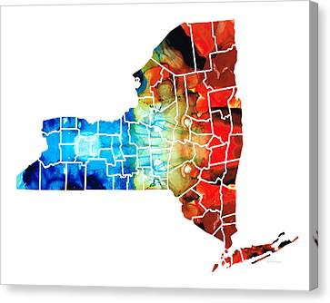 New York - Map By Sharon Cummings Canvas Print by Sharon Cummings