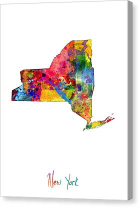 New York Map Canvas Print by Michael Tompsett