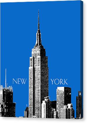 New York Skyline Empire State Building - Blue Canvas Print by DB Artist