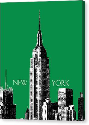 New York Skyline Empire State Building - Forest Green Canvas Print by DB Artist