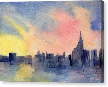 New York Skyline Empire State Building Pink And Yellow Watercolor Painting Of Nyc Canvas Print by Beverly Brown