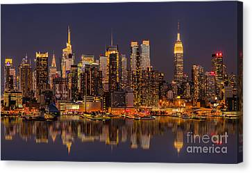 New York Skyline From New Jersey Canvas Print by Jerry Fornarotto