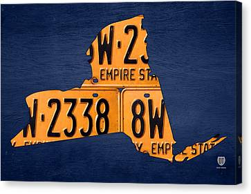 New York State License Plate Map Canvas Print by Design Turnpike