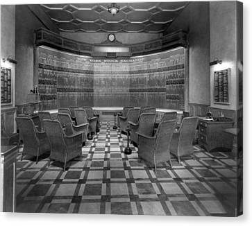 New York Stock Exchange Board Canvas Print by Underwood Archives
