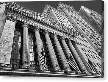 New York Stock Exchange Wall Street Nyse Bw Canvas Print by Susan Candelario