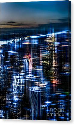New York - The Night Awakes - Blue I Canvas Print by Hannes Cmarits