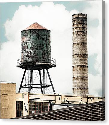 Water Tower And Smokestack In Brooklyn New York - New York Water Tower 12 Canvas Print by Gary Heller