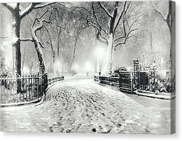 New York Winter Landscape - Madison Square Park Snow Canvas Print by Vivienne Gucwa