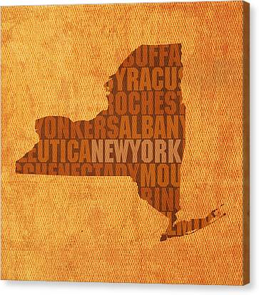 New York Word Art State Map On Canvas Canvas Print by Design Turnpike
