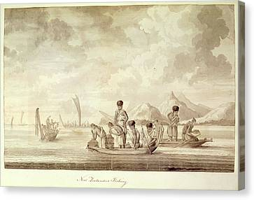 New Zealanders Fishing Canvas Print by British Library