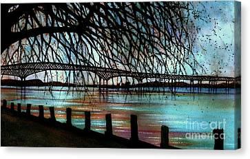 Newburgh - Beacon Bridge Night Sky Canvas Print by Janine Riley