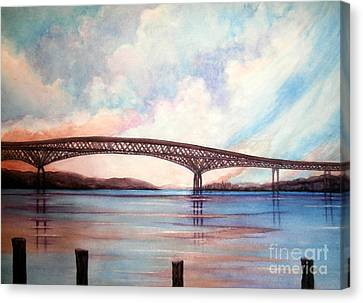 Newburgh Beacon Bridge Sky  Canvas Print by Janine Riley