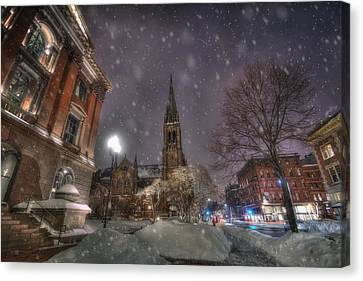Winter On Newbury Street - Boston Canvas Print by Joann Vitali