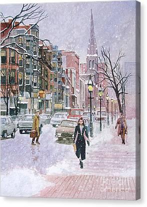 Newbury Street Flurries Canvas Print by Karol Wyckoff