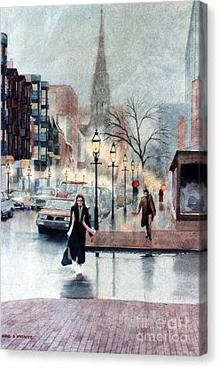 Newbury Street Rain Canvas Print by Karol Wyckoff