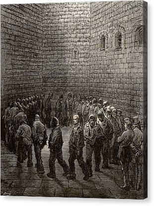Newgate Prison Exercise Yard Canvas Print by Gustave Dore