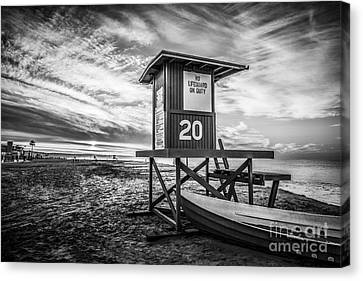 Newport Beach Lifeguard Tower 20 Black And White Photo Canvas Print by Paul Velgos