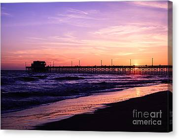 Newport Beach Pier Sunset In Orange County California Canvas Print by Paul Velgos