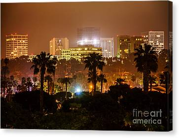 Newport Beach Skyline At Night Canvas Print by Paul Velgos