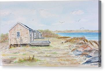 Newport Fishing Shacks Canvas Print by Michael McGrath
