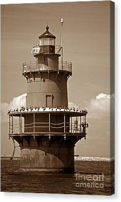 Newport News Middle Ground Light Canvas Print by Skip Willits