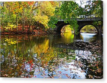 Newton Upper Falls Autumn Foliage Canvas Print by Toby McGuire