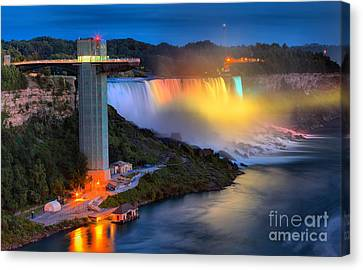 Niagara American Falls At Night Canvas Print by Adam Jewell