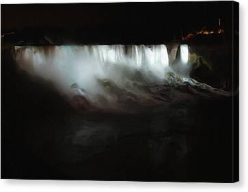 Niagara Falls By Night Canvas Print by Ayse Deniz